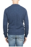 SBU 01468 Blue crew neck sweater in boucle merino wool extra fine 04