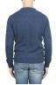 SBU 01468 Suéter azul de cuello redondo en lana boucle merino extra fina 04