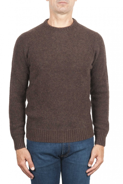 SBU 01469 Brown crew neck sweater in boucle merino wool extra fine 01