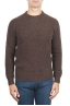 SBU 01469 Suéter marrón de cuello redondo en lana boucle merino extra fina 01