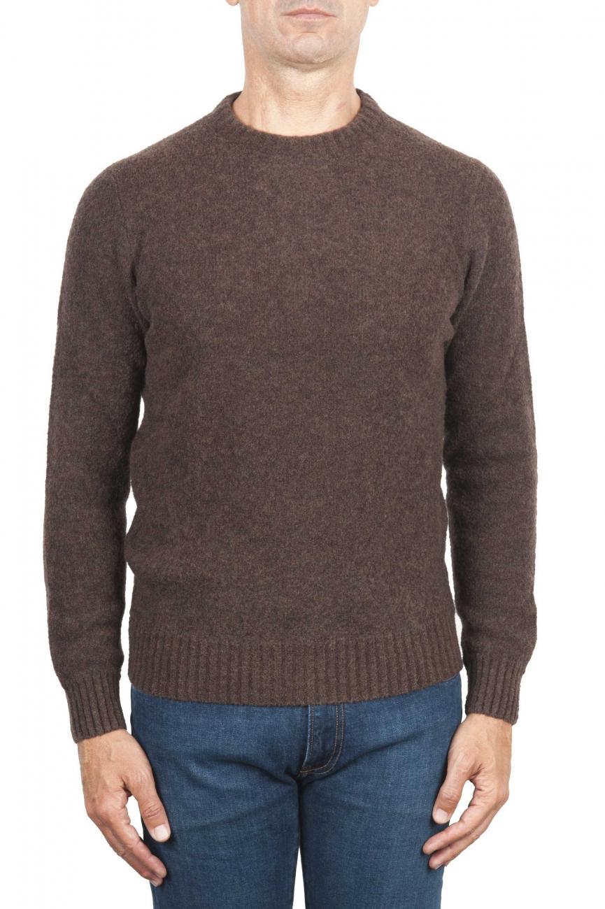 SBU 01469 ブラウンクルーネックセーター、ブリーメリノウール 01