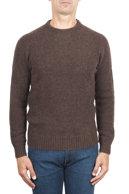 SBU 01469 Pull à col rond marron en laine mérinos bouclée extra fine 01