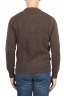 SBU 01469 Suéter marrón de cuello redondo en lana boucle merino extra fina 04
