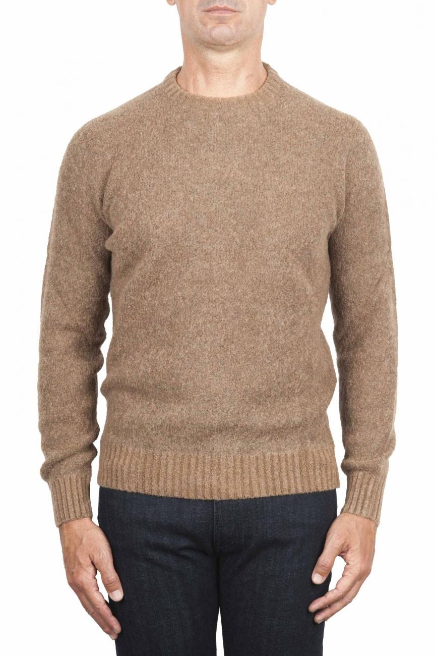 SBU 01470 Suéter beige de cuello redondo en lana boucle merino extra fina 01