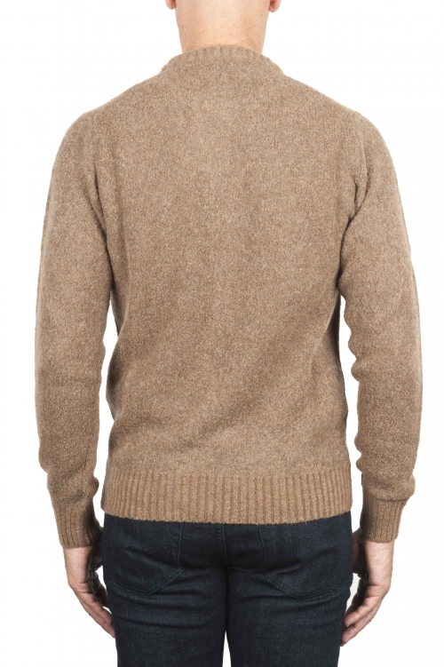 SBU 01470 Beige crew neck sweater in boucle merino wool extra fine 01
