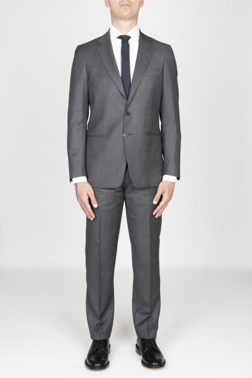 Blazer y pantalón del juego formal de los hombres de lana fresca gris ojo de perdiz