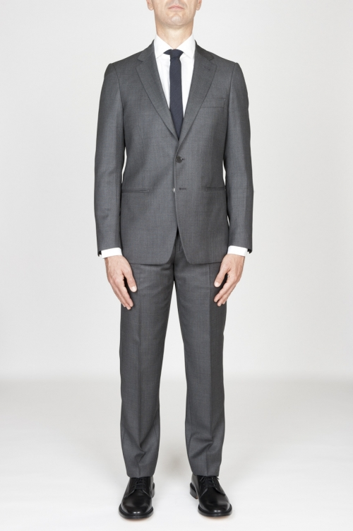 Men'S Grey Cool Wool Formal Suit Partridge Eye Blazer And Trouser