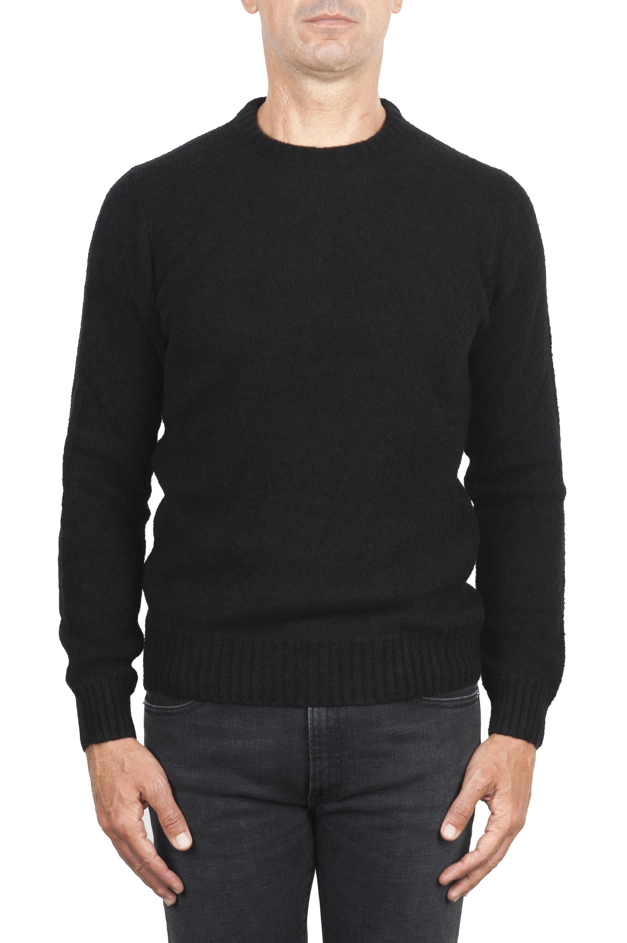 SBU 01471 Black crew neck sweater in boucle merino wool extra fine 01
