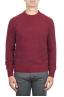 SBU 01472 Red crew neck sweater in boucle merino wool extra fine 01