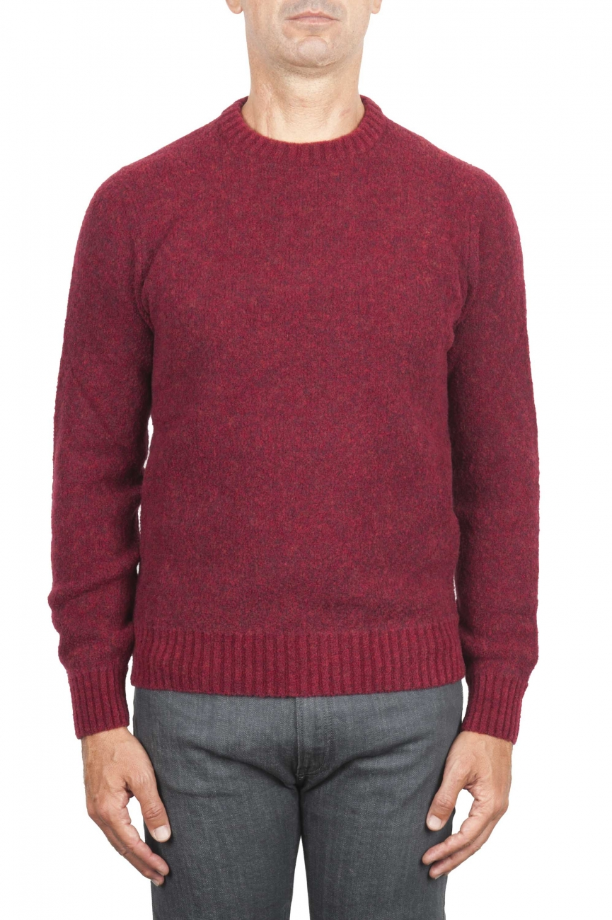 SBU 01472 Suéter rojo de cuello redondo en lana boucle merino extra fina 01