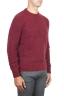 SBU 01472 Red crew neck sweater in boucle merino wool extra fine 02
