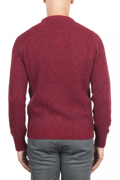 SBU 01472 Red crew neck sweater in boucle merino wool extra fine 01