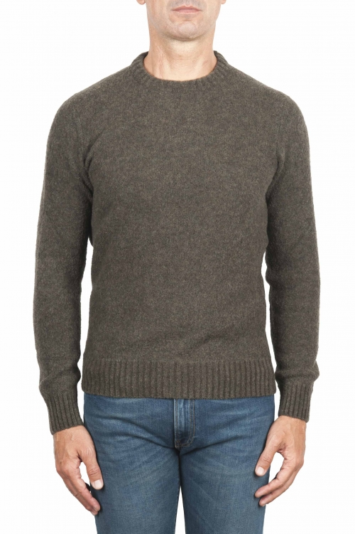 SBU 01473 Green crew neck sweater in boucle merino wool extra fine 01