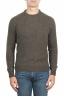 SBU 01473 Suéter verde de cuello redondo en lana boucle merino extra fina 01