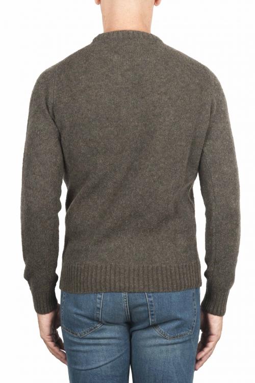 SBU 01473 Pull à col rond vert en laine mérinos bouclée extra fine 01