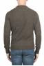 SBU 01473 Suéter verde de cuello redondo en lana boucle merino extra fina 04