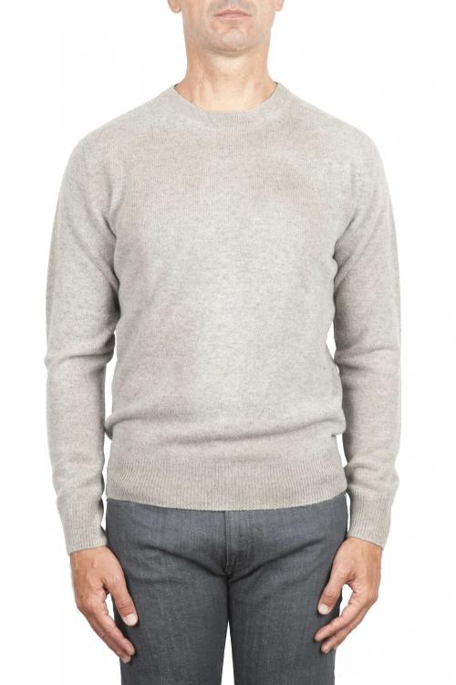 SBU 01474 Pull en laine à col rond beige effet délavé 01
