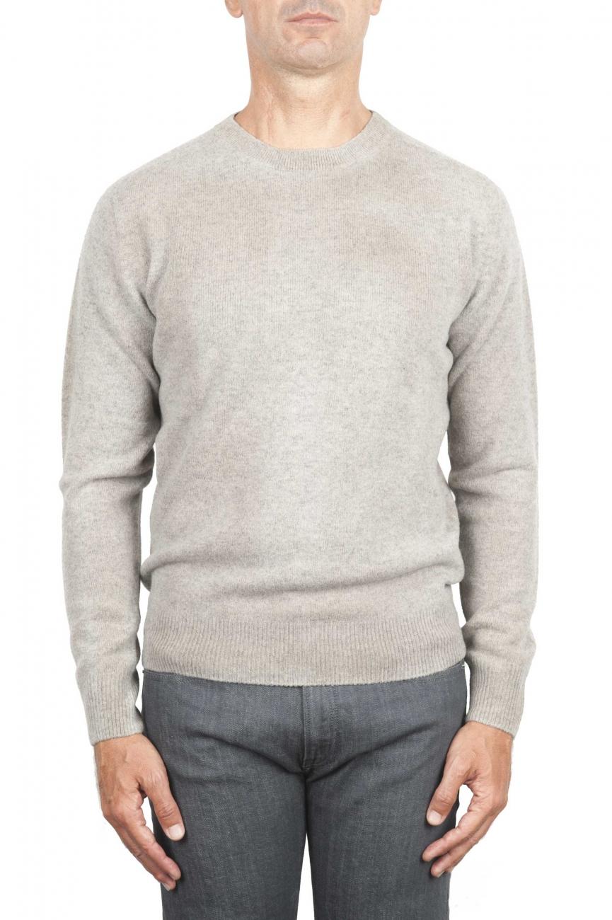 SBU 01474 Beige crew neck wool sweater faded effect 01
