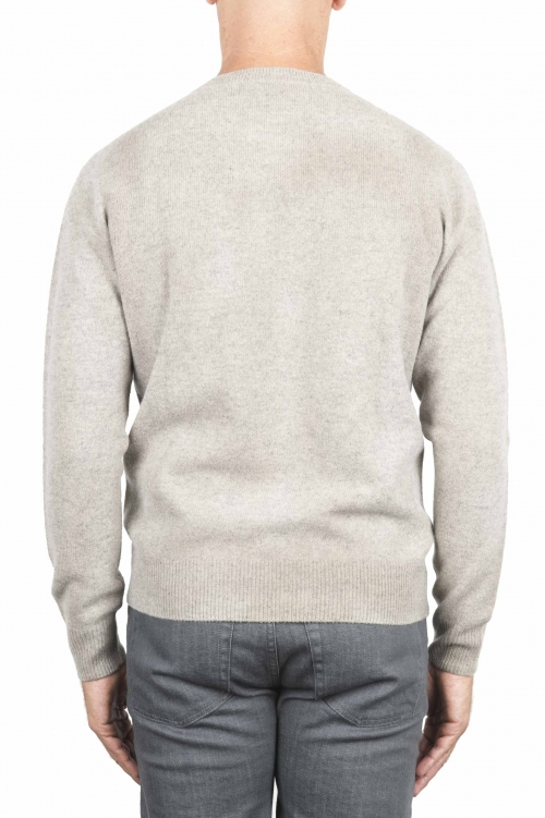 SBU 01474 Beige crew neck wool sweater faded effect 01