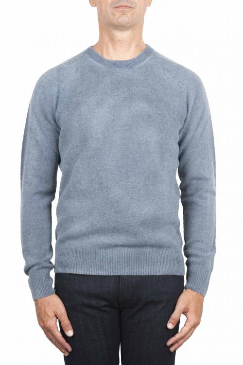 SBU 01475 Blue crew neck wool sweater faded effect 01