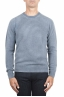 SBU 01475 Blue crew neck wool sweater faded effect 01