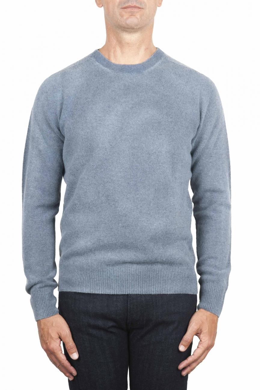 SBU 01475 Pull en laine à col rond bleu effet délavé 01