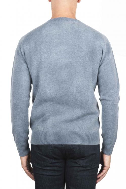 SBU 01475 Suéter de lana azul con cuello redondo, efecto descolorido 01