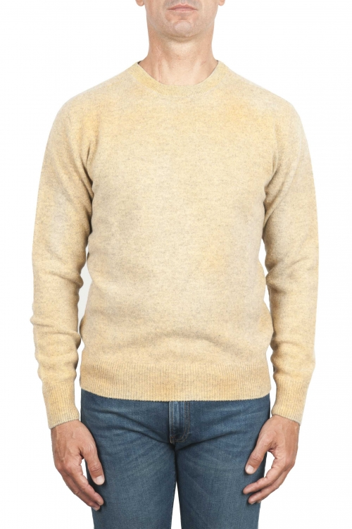SBU 01476 Yellow crew neck wool sweater faded effect 01