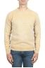 SBU 01476 Pull en laine à col rond jaune effet délavé 01