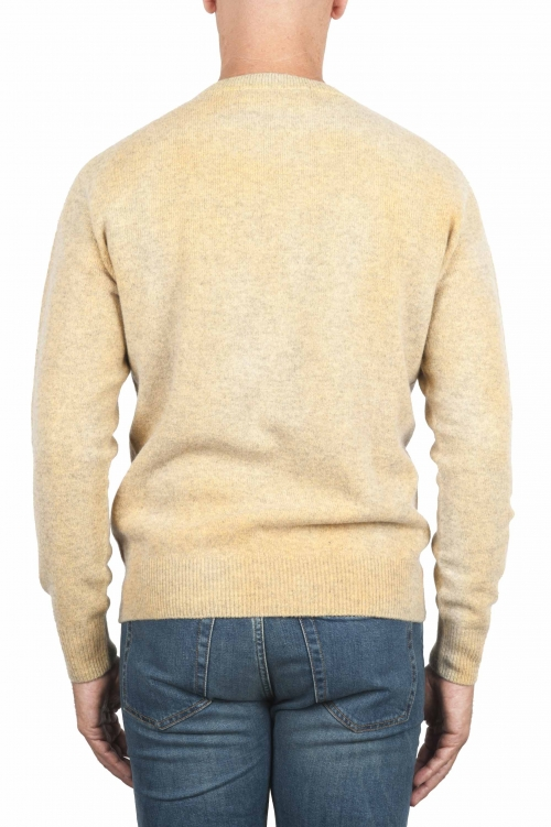 SBU 01476 Suéter de lana amarillo con cuello redondo, efecto descolorido 01