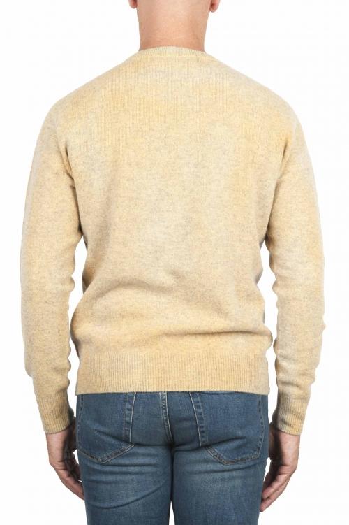 SBU 01476 Yellow crew neck wool sweater faded effect 01