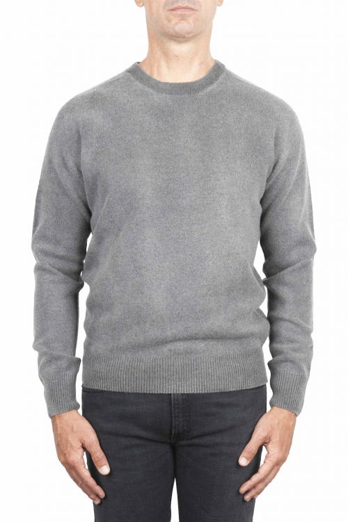 SBU 01480 Grey crew neck wool sweater faded effect 01