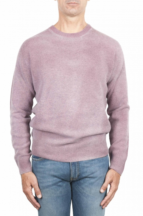 SBU 01481 Pink crew neck wool sweater faded effect 01