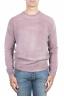 SBU 01481 Pink crew neck wool sweater faded effect 01