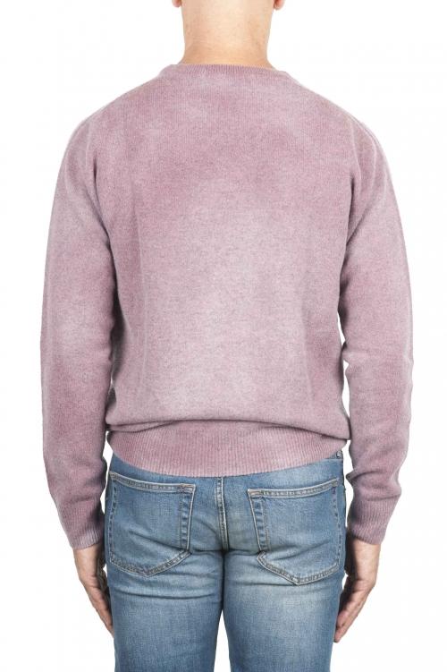 SBU 01481 Suéter de lana rosa con cuello redondo, efecto descolorido 01