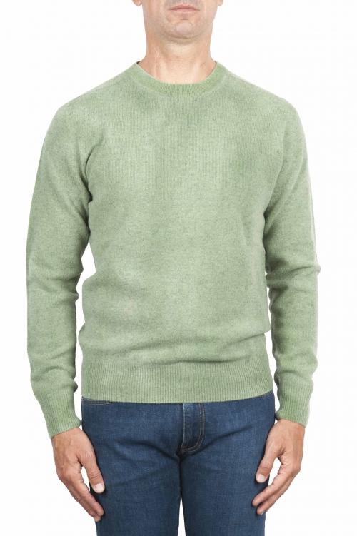 SBU 01482 Green crew neck wool sweater faded effect 01