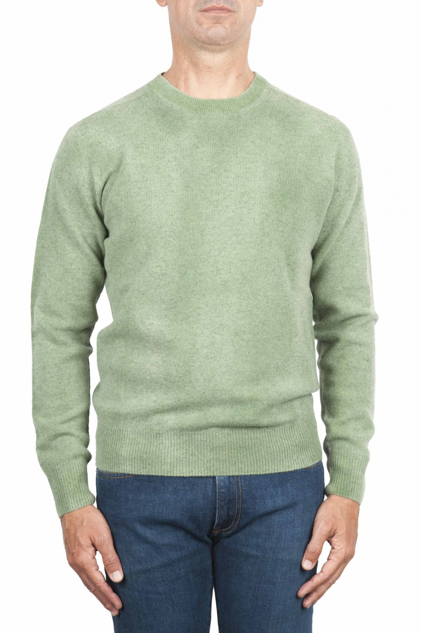 SBU 01482 Green crew neck wool sweater faded effect 01
