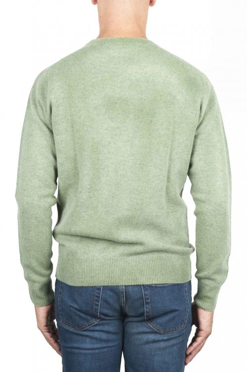 SBU 01482 Suéter de lana verde con cuello redondo, efecto descolorido 01