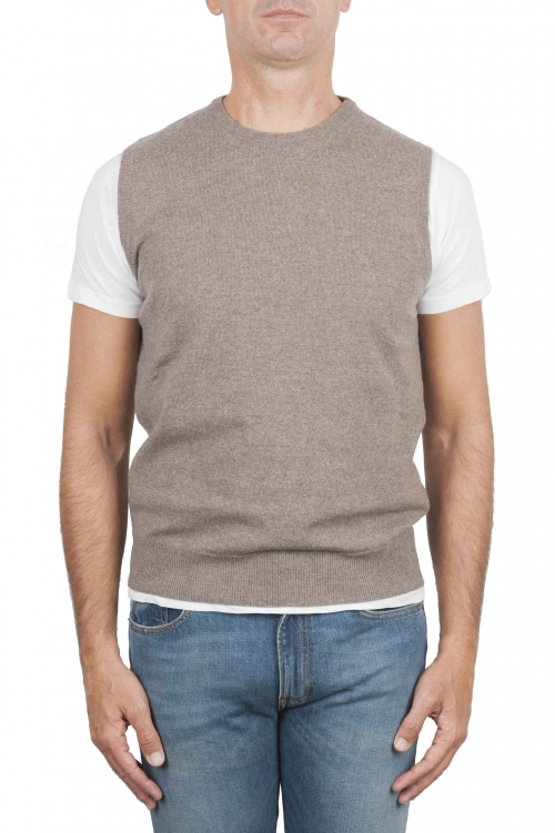 SBU 01483 Beige round neck merino wool and cashmere sweater vest 01