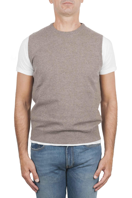 SBU 01483 Maglia gilet girocollo in filato di lana merino e cashmere beige 01