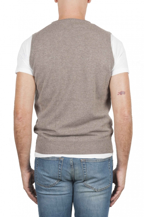 SBU 01483 Beige round neck merino wool and cashmere sweater vest 01