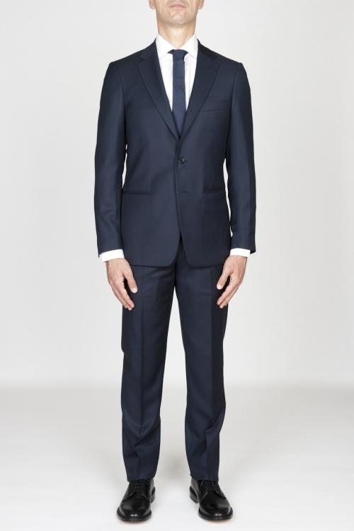 Blazer et pantalon de l habillement formel pour hommes en laine fraîche bleu marin œil-de-perdrix
