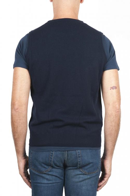 SBU 01484 Maglia gilet girocollo in filato di lana merino e cashmere blu 01