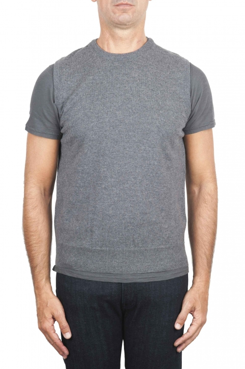 SBU 01485 Grey round neck merino wool and cashmere sweater vest 01
