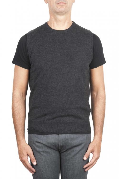 SBU 01486 Anthracite round neck merino wool and cashmere sweater vest 01