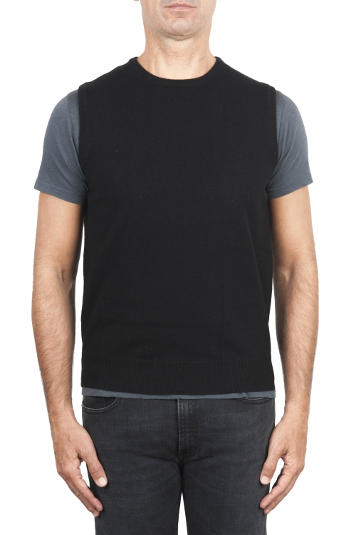 SBU 01487 Black round neck merino wool and cashmere sweater vest 01