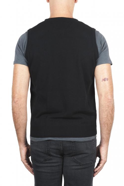 SBU 01487 Maglia gilet girocollo in filato di lana merino e cashmere nera 01