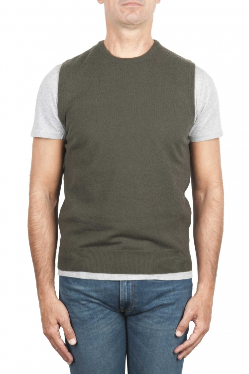 SBU 01488 Green round neck merino wool and cashmere sweater vest 01