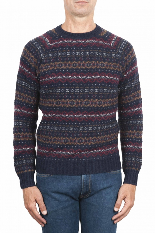 SBU 01489 Blue jacquard crew neck sweater in merino wool extra fine blend 01
