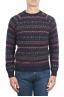 SBU 01489 Jersey de cuello redondo azul jacquard en lana merino mezcla extra fina 01